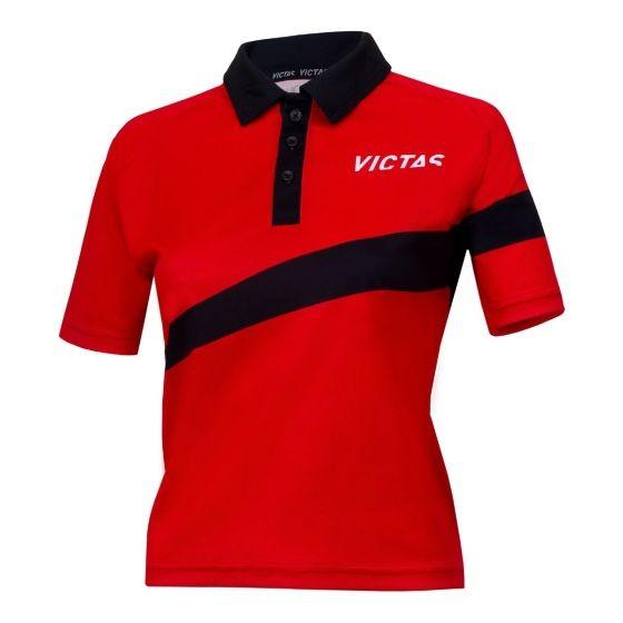 Victas Hemd Lady V-Shirt 217 rot/schwarz