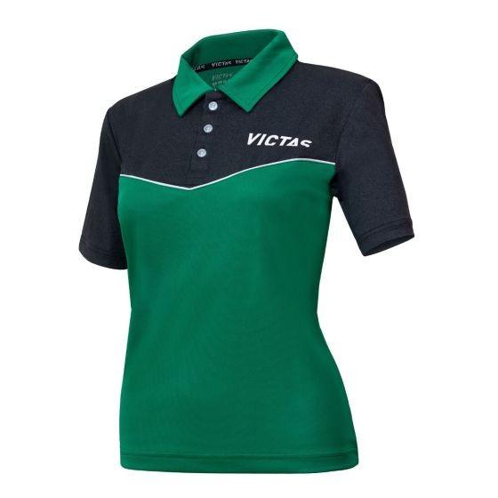 Victas Hemd Lady V-Shirt 214 grün/anthrazit-melange