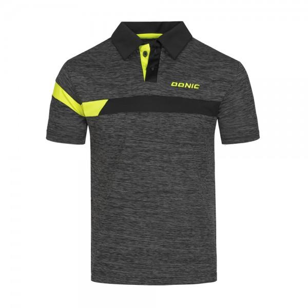 Donic Hemd Stripes anthrazit melange/schwarz/gelb