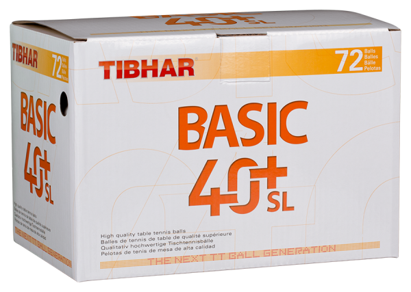 Tibhar Ball Basic 40+ SL nahtlos 72er Pack