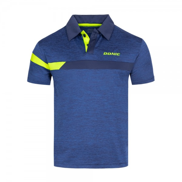 Donic Hemd Stripes blau melange/marine/gelb