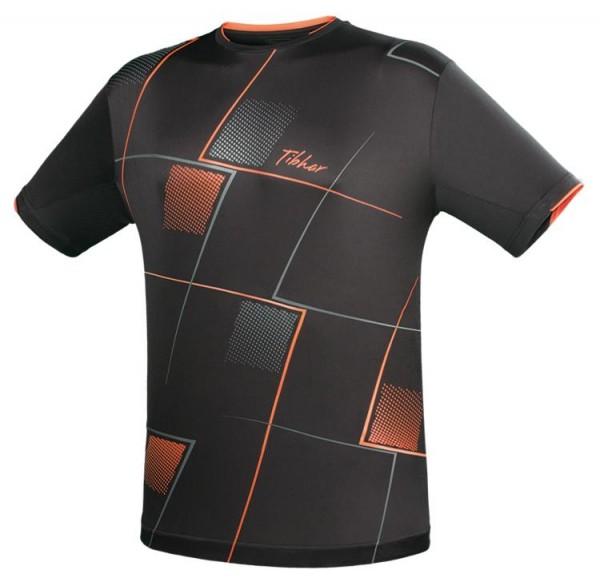 Tibhar T-Shirt Check schwarz/orange/grau